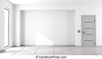 Empty white minimalist living room