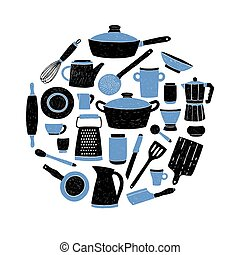 Kitchenware set on white background. Round composition with stylized hand drawn doodle dishes vector illustration.