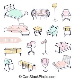 Set of various furniture. Hand drawn different types sofas,...