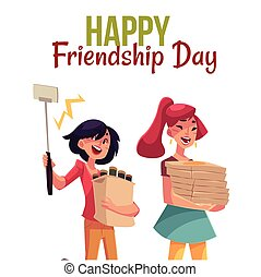 Happy friendship day greeting card design with friends...
