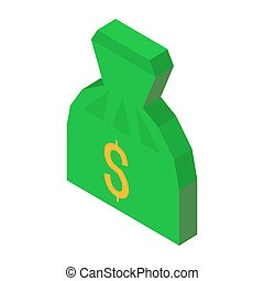 Bag of money 3D icon with dollar sign vector illustration