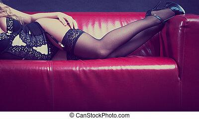 Woman wearing sexy black lingerie underwear - Sensual...