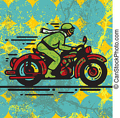 Biker - Vector illustration of man riding on vintage...