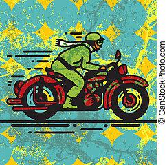 Biker - Vector illustration of man riding on vintage...