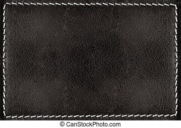 Black leather texture background with white seams - Dark...