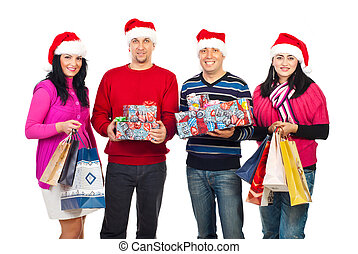 Happy Christmas people holding gifts - Happy Christmas...