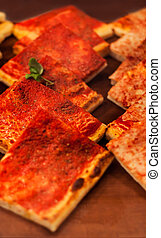 Pizza Take Away pieces, Traditional Italian Focaccia with...