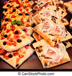 Pizza Take Away pieces on a stall, Traditional Italian...