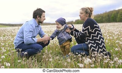 Parents with their little son outdoors on meadow.