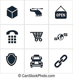 Vector Illustration Set Of Simple Engineering Icons....