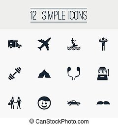 Vector Illustration Set Of Simple Fashion Icons. Elements Deal, Weightlifting, Vintage Automobile And Other Synonyms Slot, Vacation And Male.
