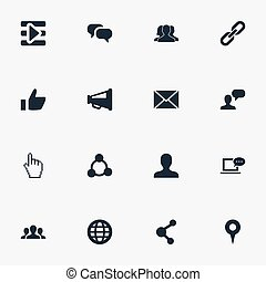 Vector Illustration Set Of Simple Social Media Icons. Elements Profile, Team, Chat And Other Synonyms Point, Letter And User.