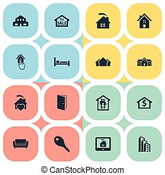 Vector Illustration Set Of Simple Real Icons. Elements Lock,...