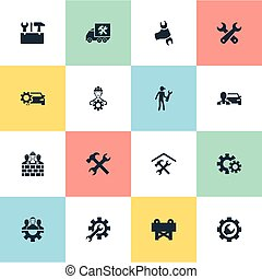 Vector Illustration Set Of Simple Repairing Icons. Elements...