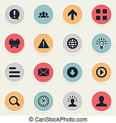 Vector Illustration Set Of Simple Interface Icons. Elements Grid, Magnifier, Reconstruction And Other Synonyms Section, Cubes And Imagination.