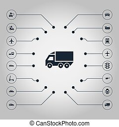 Vector Illustration Set Of Simple Transport Icons. Elements Small Automobile, Steam Train, Motor And Other Synonyms Vehicle, Automobile And Coupe.
