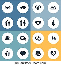 Vector Illustration Set Of Simple Love Icons. Elements Communication, Vetirinary, Wedding And Other Synonyms Feelings, Couple And Footprint.