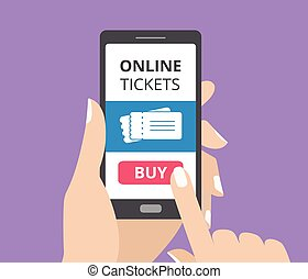 Hand holding smartphone with buy button and tickets icon on screen. Concept of online tickets mobile application.