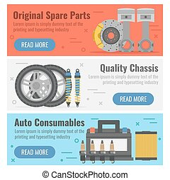 Three banner for auto spare parts - Vector horizontal three...