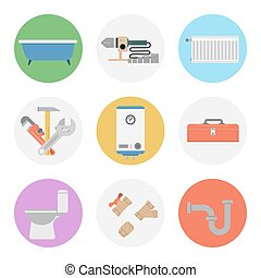 Nine color flat icon set - PLUMBING - Vector of flat nine...