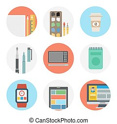 Nine color flat icon set - Designer tools