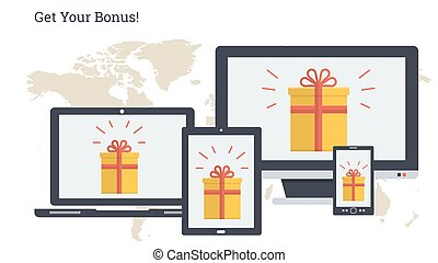 Long banner - Get your bonus - Vector illustration. Bonus in...