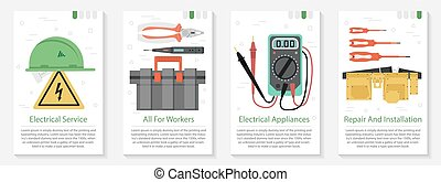 Four banner for electrical equipment - Vector vertical four...