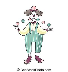 Circus performer. Man clown juggling balls. Vector illustration, isolated on white background.