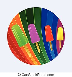 Ice lollies over multicoloured curved stripes border -...