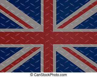 Union Jack flag over metallic diamond plate - United Kingdom...