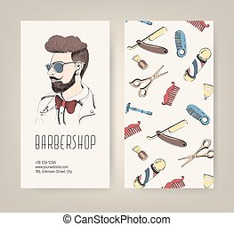 Barbershop flyer with barber tools and trendy man haircut. Colorful vector illustration.
