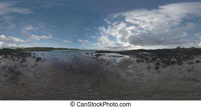 360 VR Timelapse of ocean and sailing clouds in Mauritius -...