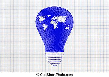 lightbulb, värld,  global, karta, nyskapande