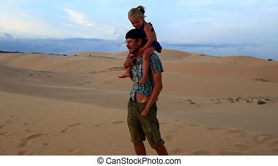 Father Carries Small Girl on Dune Makes Selfie by Lake at...