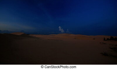 Panorama of Dark Dunes under Cloudy Sky at Deep Sunset -...
