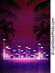 Tropical Music Party Poster - abstract summer music...