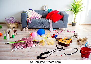 Disorder mess at home created by romping children