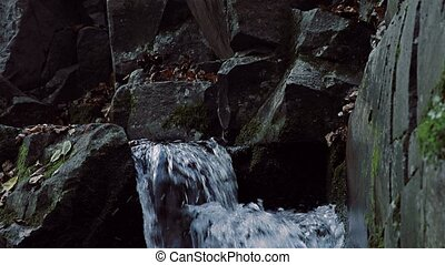 Waterfall detail panning - Small waterfall coming down the...