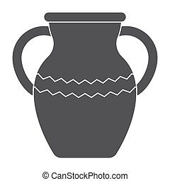 Vase or amphora, vector silhouette on white background