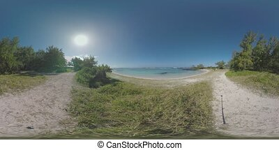 360 VR Mauritius view with ocean, beach and walking family -...