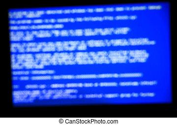 Blue system crash screen. Defocused background