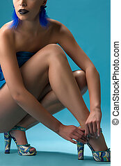 shapely legs a young woman in beautiful shoes