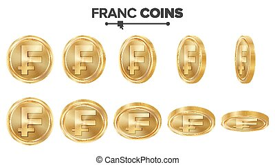 Franc 3D Gold Coins Vector Set. Realistic Illustration. Flip...