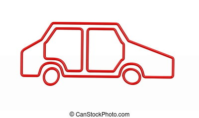 silhouette red car on white background. Isolated 3D render