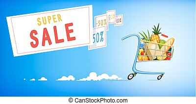 Shopping cart with foodstuff. Supermarket equipment for...