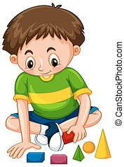 Boy playing with shape blocks