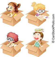 Little girls in cardboard boxes illustration