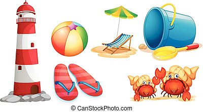 Lighthouse and different kinds of beach items
