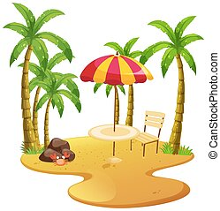 Beach scene with dining table and trees illustration