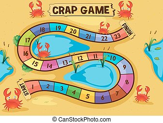 Boardgame template with crabs on the sand illustration